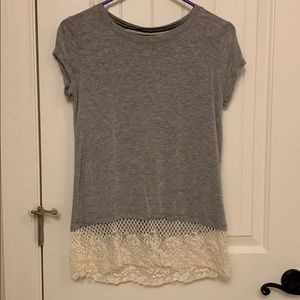 Gray Top with Lace